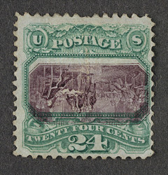 United States: 1869 24 cents deep purple and green, error centre inverted, unused.